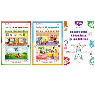 """Setul promotional pentru 4-5 ani este format din trei caiete:""""Invatam sa comunicam si sa ne comportam 4-5ani"""", fise de lucru pe teme anuale de studiu,""""Iubim matematica si mediul inconjurator, fise de lucru pe teme anuale de studiu pentru 4-5 ani"""" si""""Descoperim profesiile si meseriile, carte de colorat pentru 4+""""."""