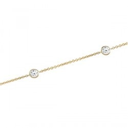 """Here is an 18"""", bezel station, 14k gold necklace with cubic zirconia gemstones. This understated, elegant cubic zirconia necklace in 14K yellow gold or 14K white gold produces a very sophisticated look at a very good price."""