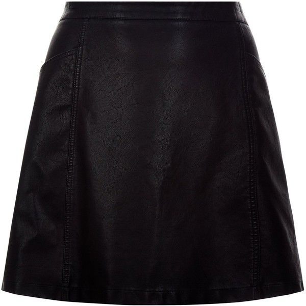 New Look Curves Black Leather-Look A-Line Skirt (£20) ❤ liked on Polyvore featuring skirts, black, imitation leather skirt, fake leather skirt, knee length a line skirt, faux leather skirt and a line skirt