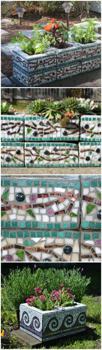 Mosaic Cinder Block Planters via @1001Gardens