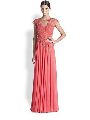 Coral with bling, cap sleeves & coverage Teri Jon Lace Applique Gown
