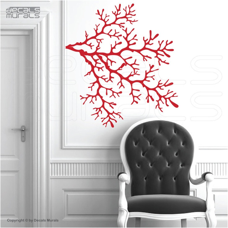 Wall decals 4 CORAL REEF BRANCHES Vinyl art interior decor by Decals Murals (29x32). $37.99, via Etsy.