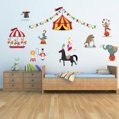 Kit Cameretta Circus Circo Wall Sticker Adesivo da Muro Componibile