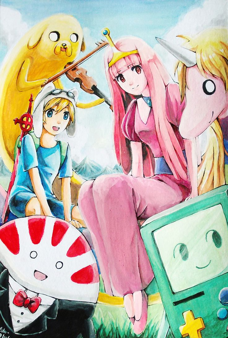 Lady Rainicorn, BMO, Princess Bubblegum, Jake, Finn and Peppermint Butler, Adventure Time