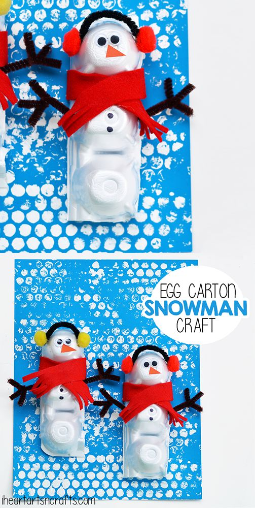 Egg Carton Snowman Craft for Kids!  Winter craft for preschool.  #wintercraft #preschool #snowman