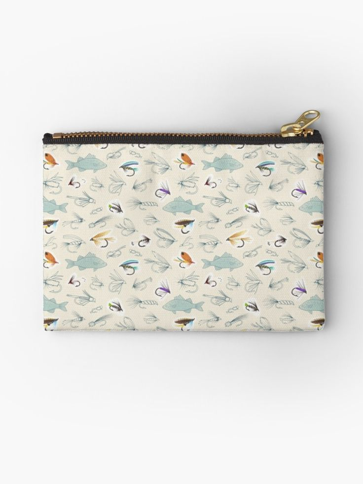 Fishing Flies Studio Pouch, zipped pouch. Features a repeating pattern created from my own hand drawings of fish and fishing flies. Made using a combination of pen, pencil and digital art. Design by Hazel Fisher Creations. • Also buy this artwork on bags, apparel, phone cases, and more.