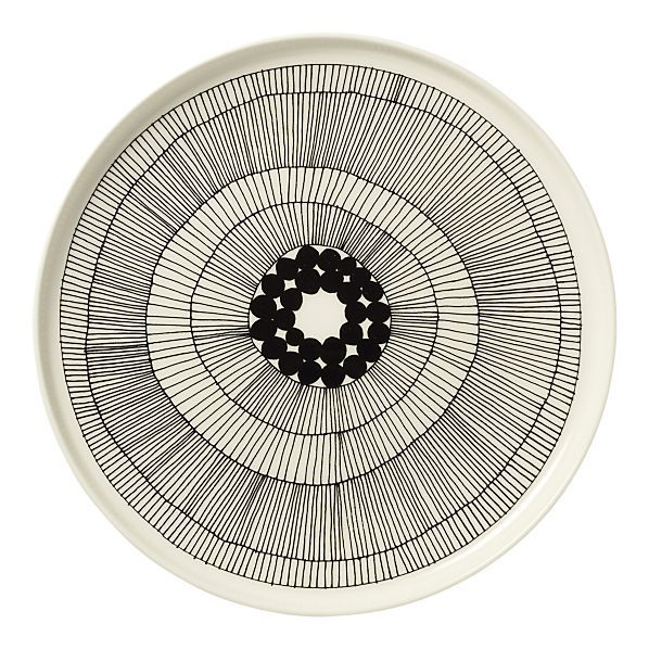 "Marimekko Siirtolapuutarha Black and White 10"" Plate #plate #housewares #geometry #circle #organic #blackandwhite #circles #merimekko"