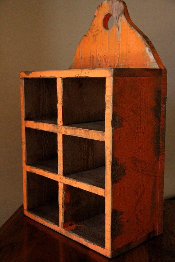 Primitive spice rack, Jelly cupboard, Primitive wall shelf, French country spice rack, Shabby chic wall shelf, Cubby shelf, shadow box