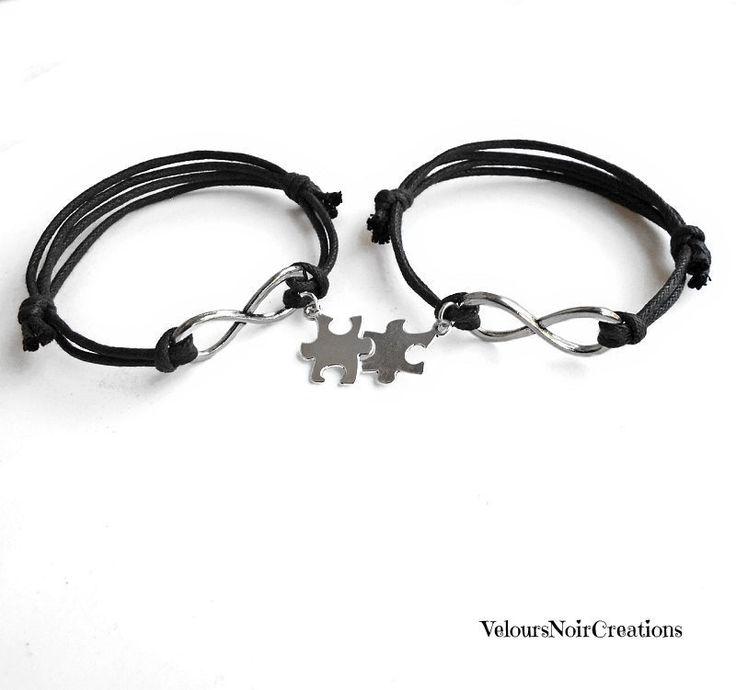 Coppia bracciali infinito e ciondolo puzzle, by Velours Noir Crèations, 16,00 € su misshobby.com