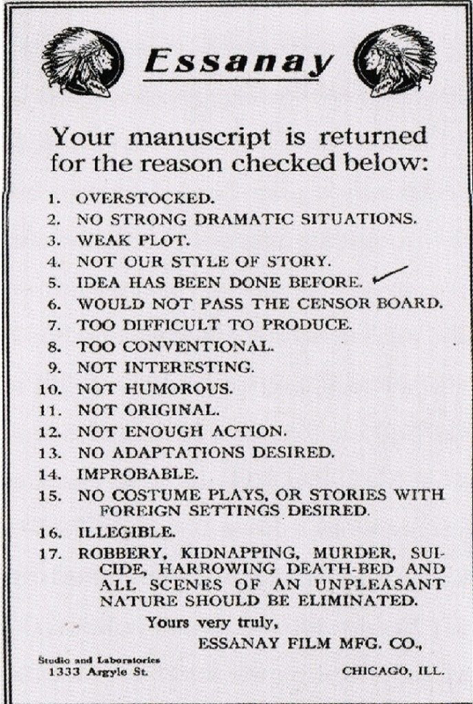 The film script rejection checklist. Ouch.
