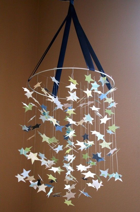 Star chandelier: Baby Blue, Baby Mobiles, Stars Mobiles, Punch Stars, Baby Gifts, Old Lamps Shades, Scrap Books, Diy Baby, Books Paper