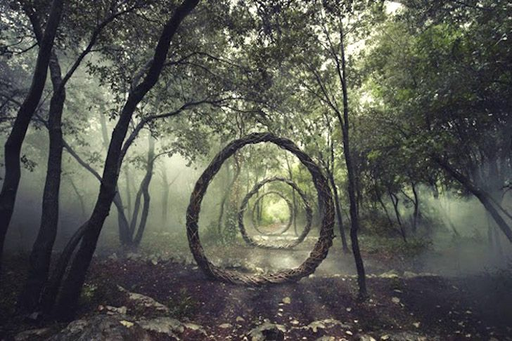 Artist Spencer Byles has spent a year living in remote woodland creating intriguing temporary structures from natural materials.