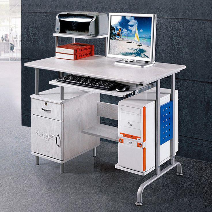 SUNTEAM computer tables modern minimalist home desktop computer desk with bookcase desk computer desk white