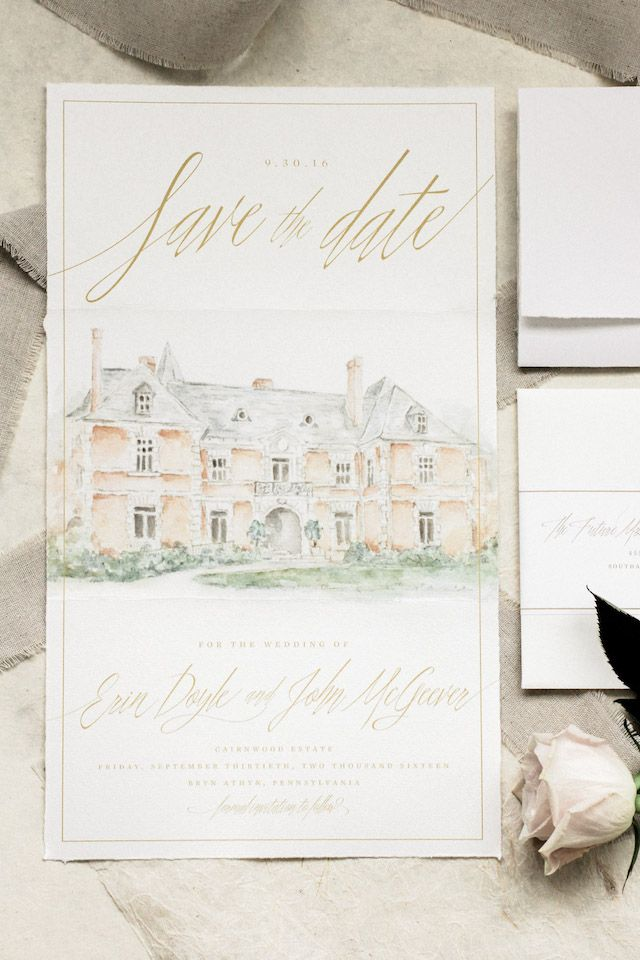 Illustrated European Inspired Watercolor Save The Dates Wedding