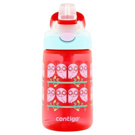 Contigo Gizmo Flip 14 Oz Kids Water Bottle, Owl Graphics, Red