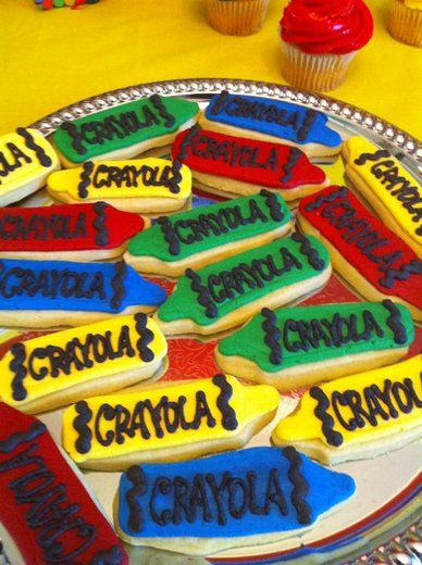 """Crayon Cookies from CatchMyParty.com's website: Crayola Crayons / Birthday """"Mackenzie's Coloring Birthday Party"""""""