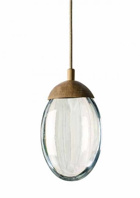 Beach pebble ochre pendant beach pebble designed by ochre is a pendant made of a solid glass drop illuminated by led carved oak cap with matching canopy