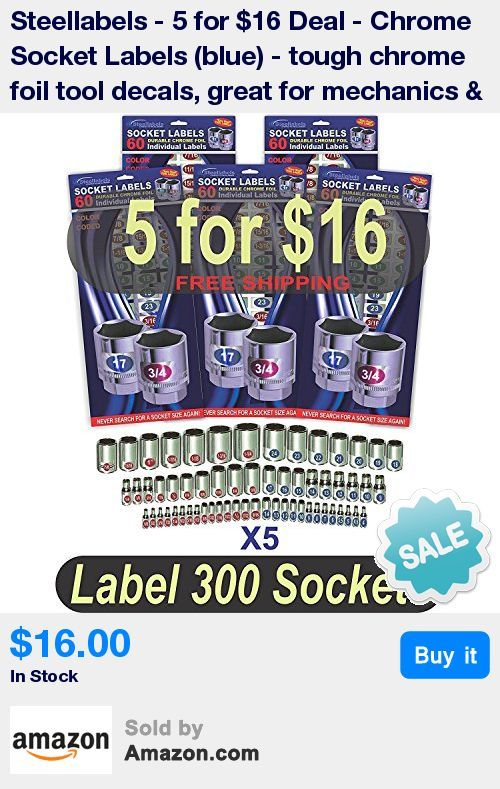 """Save big on our """"5 Sheet Lot"""" of """"Color Coded"""" labels, each sheet contains 60 individual Coated and Dye Cut Chrome Socket Labels  * Designed to fit all fine tool brands Snap On, Craftsman, Mac, Matco, Stanley, Cromwell and other fine tools  * Made from custom """"Medical Grade"""" tight radius foil material with Permanent Adhesive - Oil and Gas resistant  * Don't pay big bucks for all new Laser Etched Sockets when you can do the job better at a fraction of the cost  * Check out our other p"""