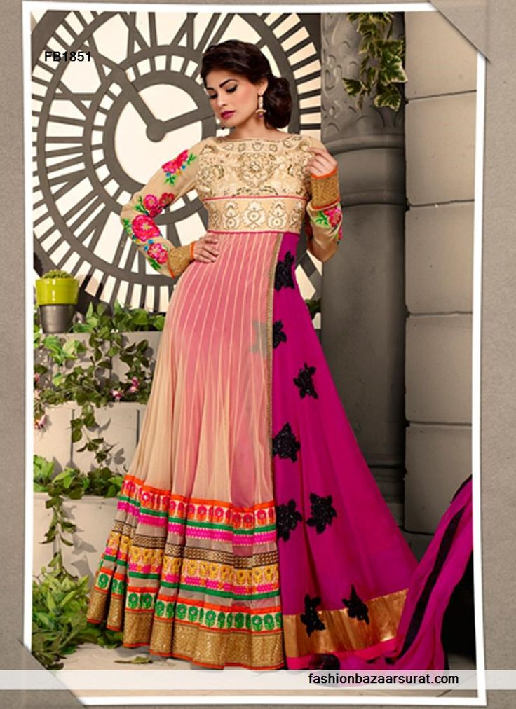 Pink And Cream Anarkali Suit