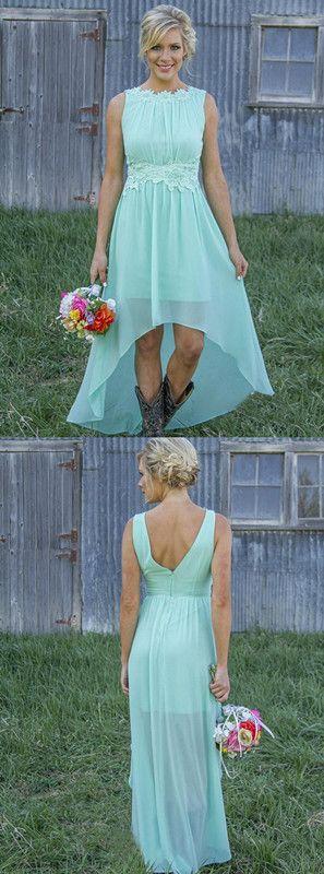 A-Linie V-Ausschnitt Knielanges Mintgrünes Brautjungfernkleid mit Spitze in Mode