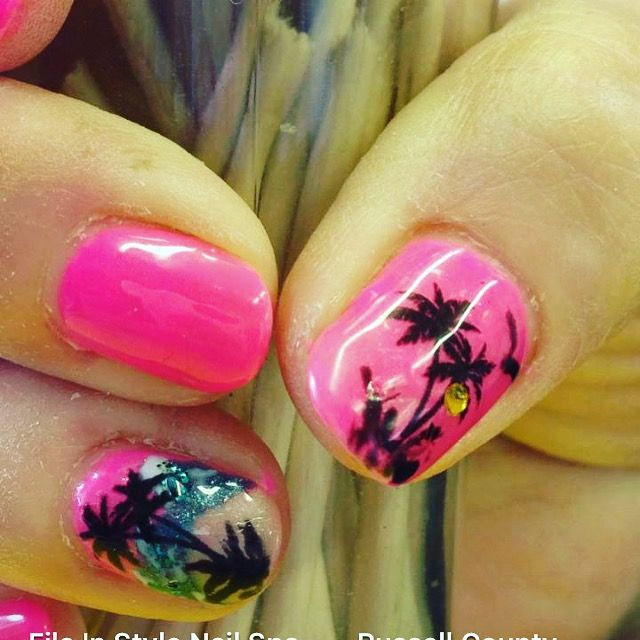 File 'n Style Nail Spa. Ready for Hawaii nail art by Becky Hurt