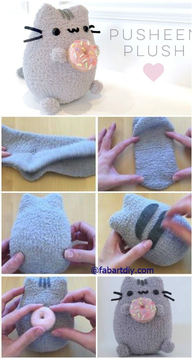 """DIY Donut Pusheen Cat Sock Plush Softie Tutorial (Video), an easy sew animal toy for kids and """"kids"""" in heart #Sew, #Toy"""