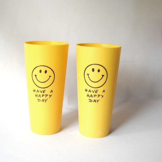 Vintage Smiley Face Tumblers  Plastic Tumblers Kitsch 1970s Decor Yellow Happy Drinking Glass Iconic.