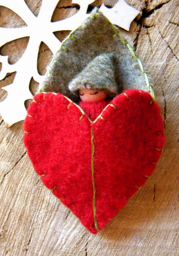 Waldorf Leaf Baby, Red & Green, Christmas Toy