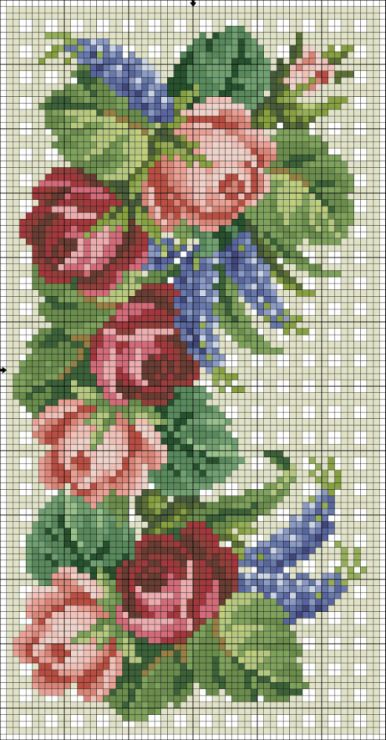 rose - point de croix - cross stitch -/