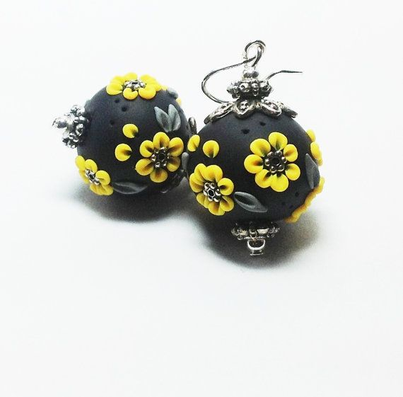 Yellow Flowers, Handmade Polymer Clay Beads, Summer Jewelry, unique, appliqué earrings, summer sun flowers