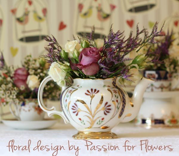 Kitchen Tea Decoration Ideas: 19 Best Teapot Flower Arrangements Images On Pinterest