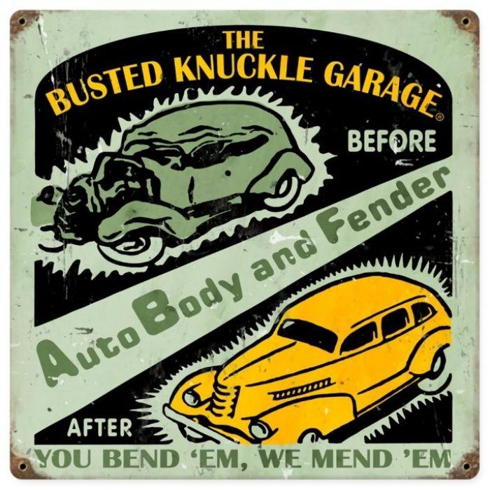 Vintage Auto Body Shop Metal Sign 12 X 12 Inches Metals Bodies