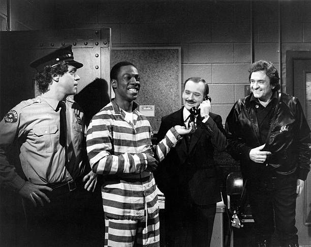 Joe Piscopo as guard, Eddie Murphy as Frankie, Brian Doyle-Murray as warden, Johnny Cash during the 'Last Request' skit on April 17, 1982 - Photo by: