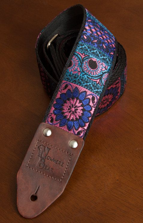Shimmering Pink/Purple Flower Guitar Strap by nowherebearstraps, $55.00