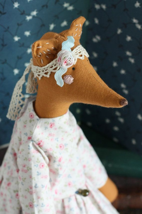 Stuffed cute fox doll Handmade fabric toy by dearblueberryshop, €30.00