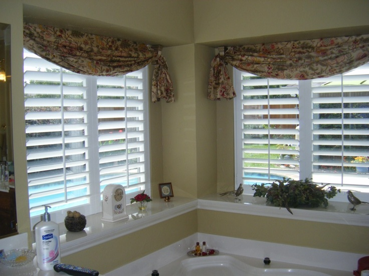 Valance With Shutters Looks Better Than I Thought It Would And Adds A Bit Of California Shuttersplantation Shuttercurtain Ideasbath