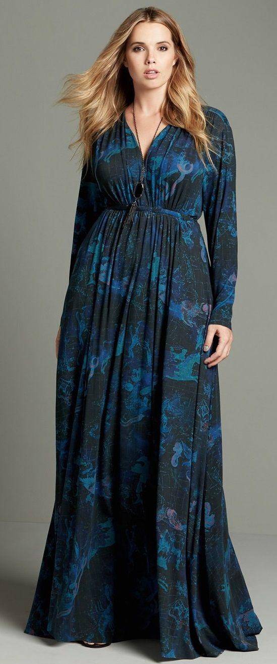 Plus Size A-Line Maxi Dress