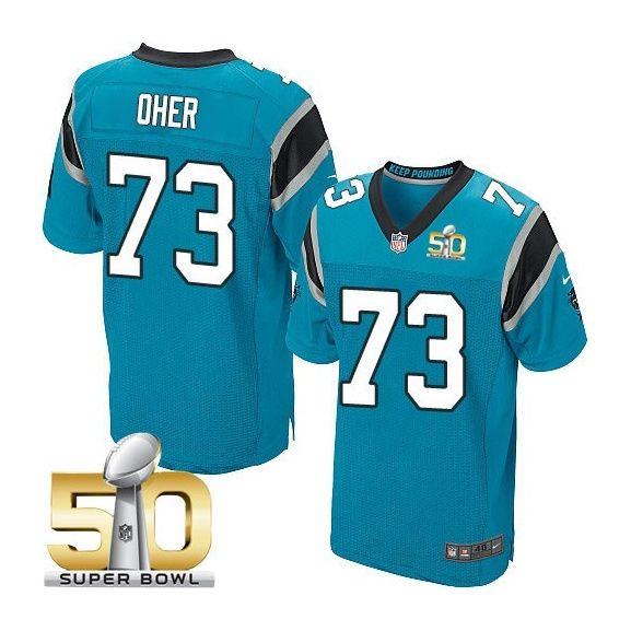 Men's NFL Carolina Panthers #73 Michael Oher Blue 2016 Super Bowl 50 Elite Jersey
