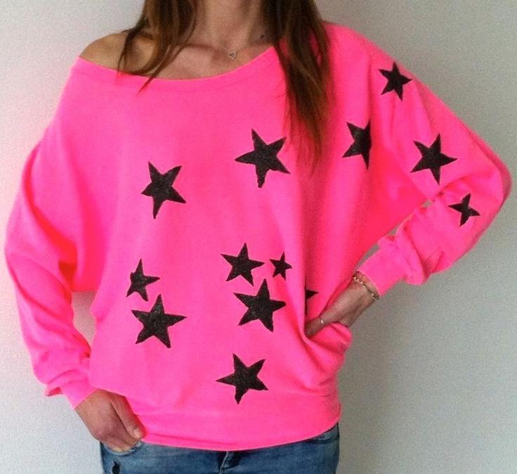 felpa rosa shocking con stelle dipinte glitter