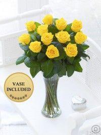 Elegant Yellow Rose Vase