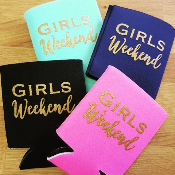 Heading out for a girls weekend with your favorites? Complete your trip with this neoprene can cooler, available in 4 different colors - Navy, Black, Hot Pink and Robins Egg all adorned with gold glit