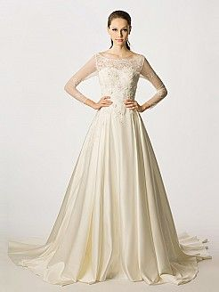 Scoop Neckline Sheer Long Sleeved Satin Wedding Gown with Flower Decor - USD $345.99