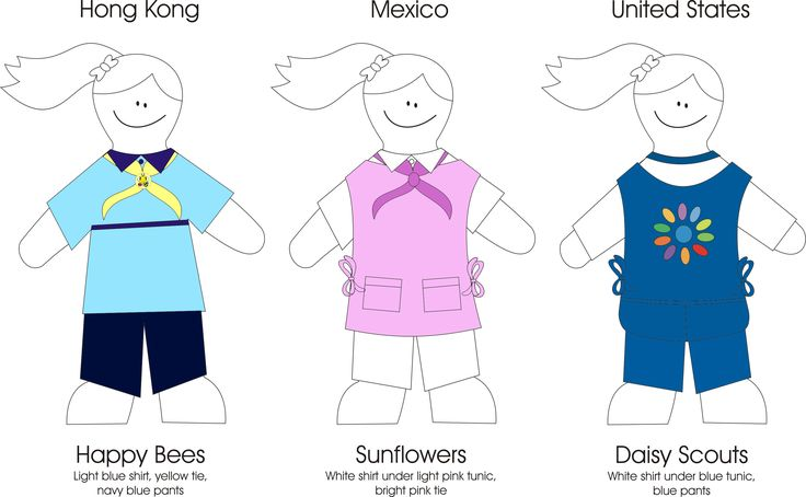 Rainbow uniforms around the world, inc pages to colour. By Guiding with Jewels Canada