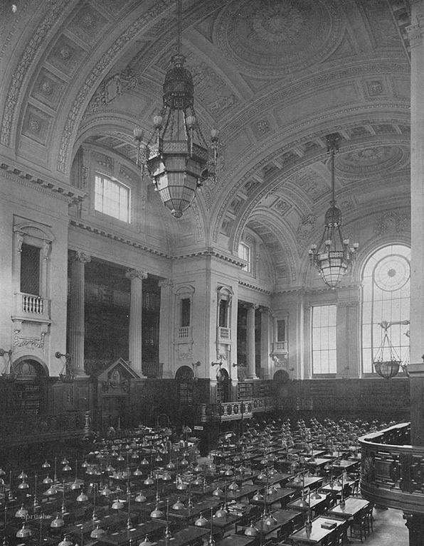 Staatsbibliothek Unter den Linden. Die Quelle ist die Deutsche Bauzeitung, 1914, Universitätslesesaal