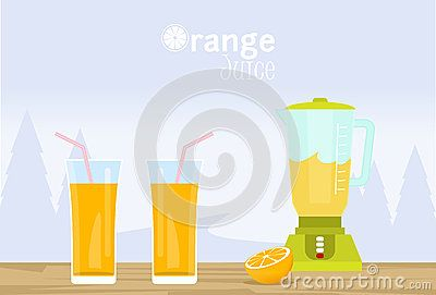 Orange juice illustration vector with glasses, blender and orange fruit