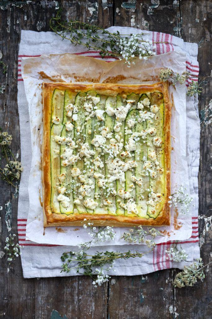 Zucchini and Goat Cheese Puff Pastry Tart