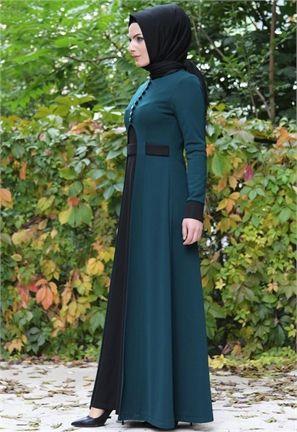 Neşe Ön Yırtmaçlı Elbise-Zümrüt/Siyah-2312