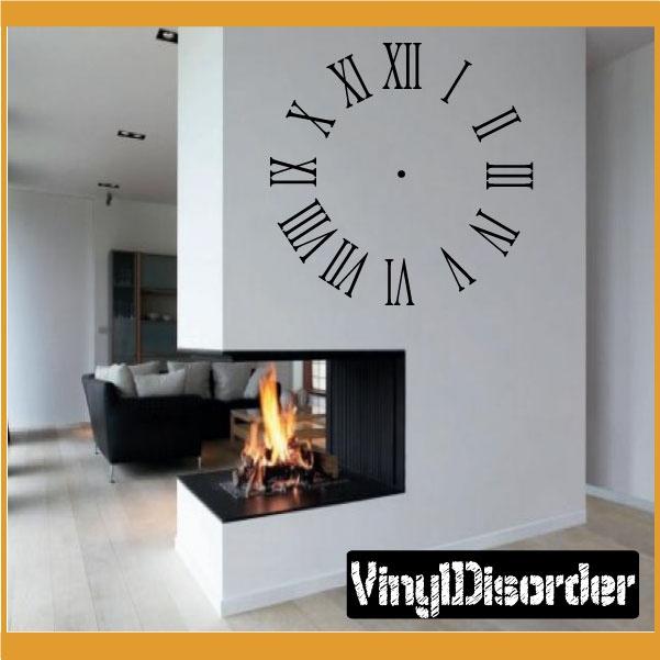 wall clocks roman numerals clock faces face vinyl wall decal mural