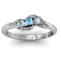 Three Stone Bypass Swirl #Promise #Ring #Personalized. I love this good gift for my girls with their birthstone!