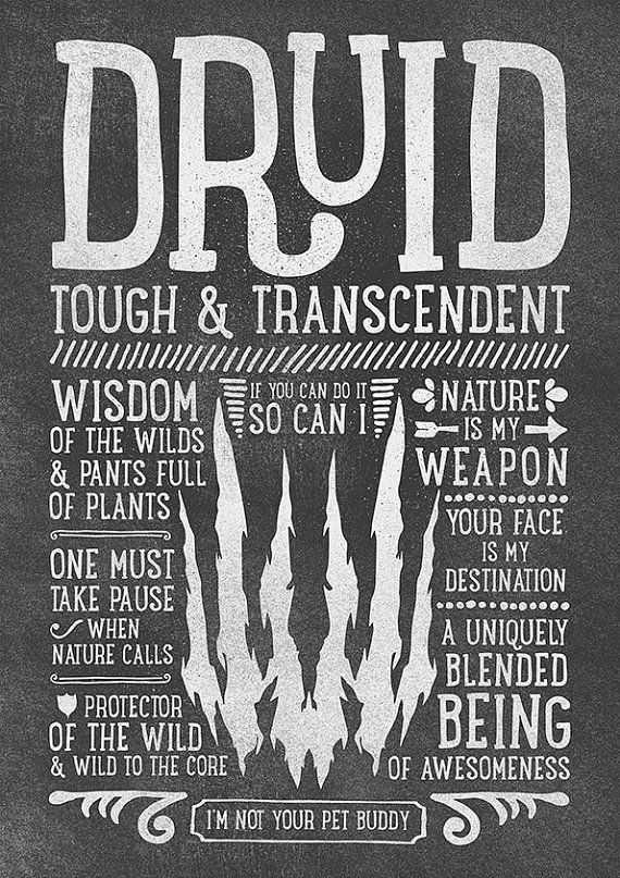 World of Warcraft / Roleplaying Medieval / Fantasy Inspired Type Print - DRUID Edition